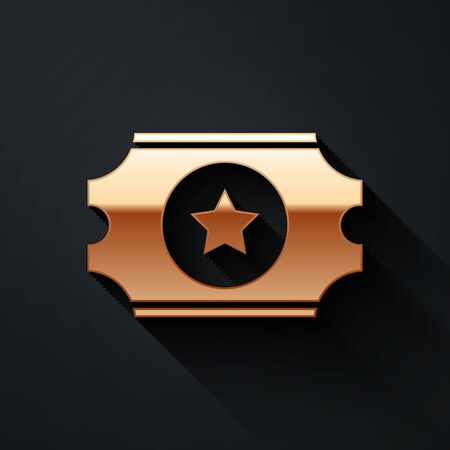 Gold Cinema ticket icon isolated on black background. Long shadow style. Vector.