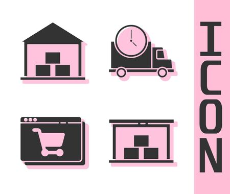Set Warehouse, Warehouse, Online shopping on screen and Logistics delivery truck and clock icon. Vector. Vectores