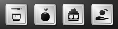 Set Honey dipper stick and bowl, Apple, Cream or lotion cosmetic tube and Apple in hand icon. Silver square button. Vector.