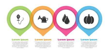 Set Kite, Watering can, Water drop and Pumpkin. Business infographic template. Vector.