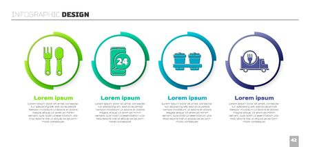 Set Fork and spoon, Food ordering, Coffee cup to go and Fast delivery by car. Business infographic template. Vector.