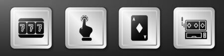Set Slot machine with lucky sevens, Hand holding casino chips, Playing card with diamonds and Slot machine icon. Silver square button. Vector. Ilustrace