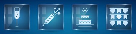 Set Glass of champagne, Firework rocket, Cake with burning candles and Carnival garland with flags. Square glass panels. Vector.