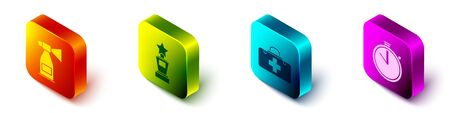 Set Isometric Air horn, Award cup, First aid kit and Stopwatch icon. Vector.