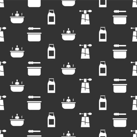 Set Perfume, Sauna bucket and ladle, Bathtub and Bottle with milk on seamless pattern. Vector.