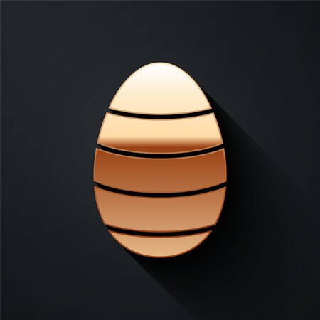 Gold Easter egg icon isolated on black background. Happy Easter. Long shadow style. Vector.