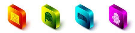 Set Isometric Interior fireplace, Fire hose reel, Ambulance and emergency car and Fire hydrant icon. Vector. Ilustracja
