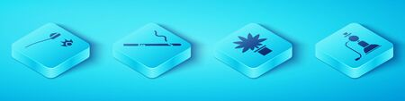 Set Isometric Heroin in a spoon, Cigarette, Hookah and Marijuana or cannabis plant in pot icon. Vector.