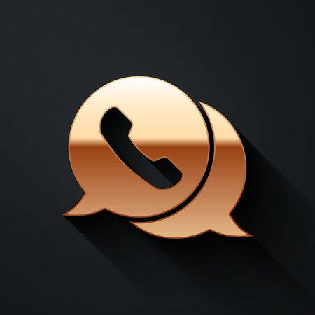 Gold Telephone with speech bubble chat icon isolated on black background. Support customer service, hotline, call center, faq. Long shadow style. Vector.