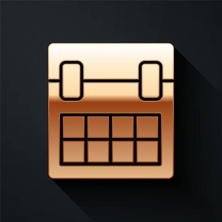 Gold Calendar icon isolated on black background. Event reminder symbol. Long shadow style. Vector.