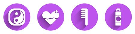 Set Yin Yang, Heart heal, Hairbrush and Cream or lotion cosmetic tube icon with long shadow. Vector.