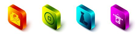 Set Isometric Yin Yang and envelope, Chinese Yuan currency, Chinese tea ceremony and Yin Yang icon. Vector