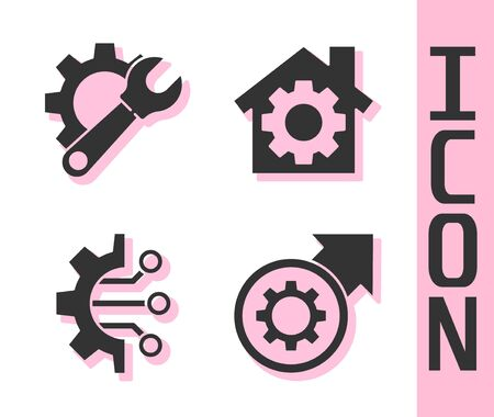 Set Gear and arrows as workflow process, Wrench spanner and gear, Algorithm and House with gear icon. Vector. Illusztráció