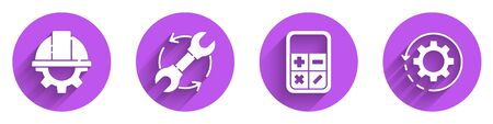 Set Worker safety helmet and gear, Wrench and arrows as workflow, Calculator and Gear and arrows as workflow icon with long shadow. Vector.  イラスト・ベクター素材
