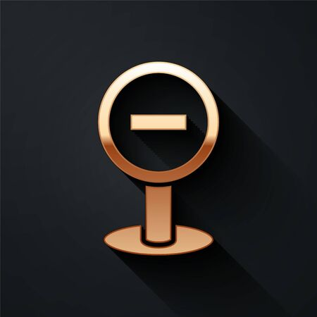 Gold Stop sign icon isolated on black background. Traffic regulatory warning stop symbol. Long shadow style. Vector.  イラスト・ベクター素材