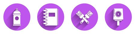 Set Paint spray can, Spiral notebook, Crossed paint brush and Spray can nozzle cap icon with long shadow. Vector