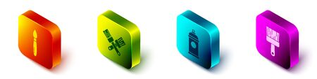 Set Isometric Paint brush, Crossed paint brush, Paint spray can and Paint brush icon. Vector