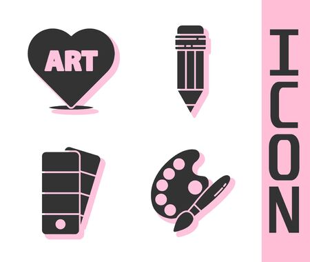Set Paint brush with palette, Heart with text art, Palette and Pencil with eraser icon. Vector