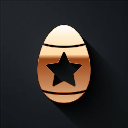 Gold Easter egg icon isolated on black background. Happy Easter. Long shadow style. Vector Illustration
