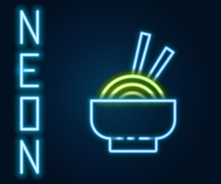 Glowing neon line Asian noodles in bowl and chopsticks icon isolated on black background. Street fast food. Korean, Japanese, Chinese food. Colorful outline concept. Vector Illustration.