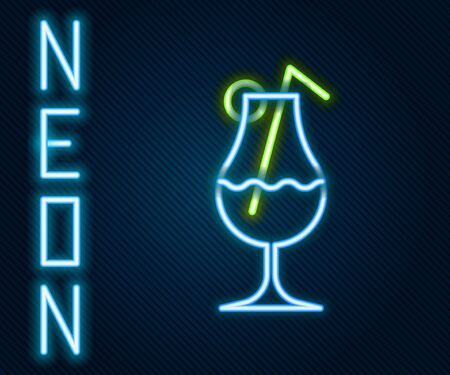 Glowing neon line Cocktail and alcohol drink icon isolated on black background. Colorful outline concept. Vector Illustration. Illustration