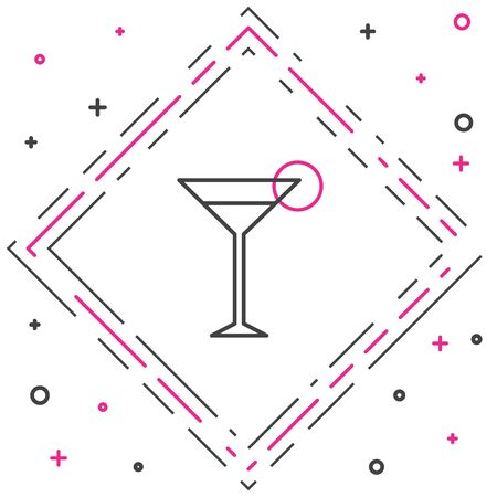 Line Martini glass icon isolated on white background. Cocktail icon. Wine glass icon. Colorful outline concept. Vector Illustration. Ilustração