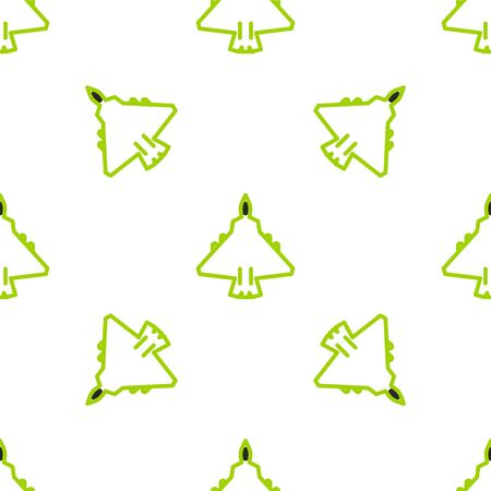 Line Jet fighter icon isolated seamless pattern on white background. Military aircraft. Vector Illustration