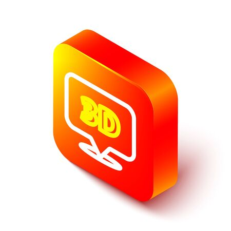 Isometric line Speech bubble with text 3D icon isolated on white background. Orange square button. Vector Illustration.