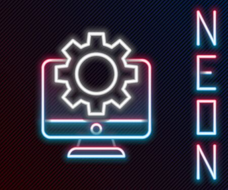 Glowing neon line Computer monitor and gear icon isolated on black background. Adjusting, service, setting, maintenance, repair, fixing. Colorful outline concept. Vector Illustration.