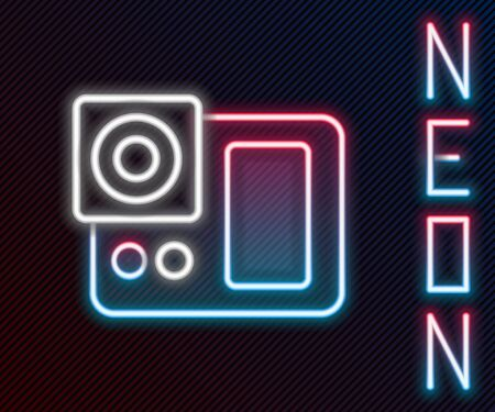 Glowing neon line Photo camera icon isolated on black background. Foto camera icon. Colorful outline concept. Vector Illustration.