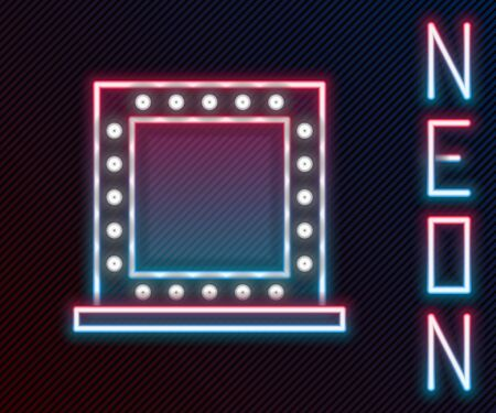 Glowing neon line Makeup mirror with lights icon isolated on black background. Colorful outline concept. Vector Illustration.