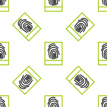 Line Fingerprint icon isolated seamless pattern on white background. ID app icon. Identification sign. Touch id. Vector Illustration.