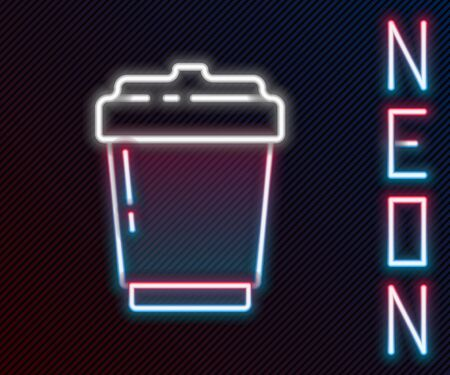 Glowing neon line Coffee cup to go icon isolated on black background. Colorful outline concept. Vector Illustration.