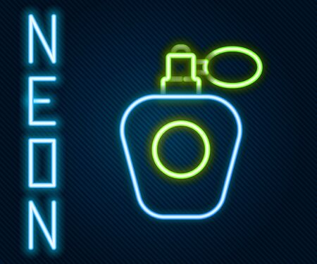 Glowing neon line Perfume icon isolated on black background. Colorful outline concept. Vector Illustration. Vettoriali