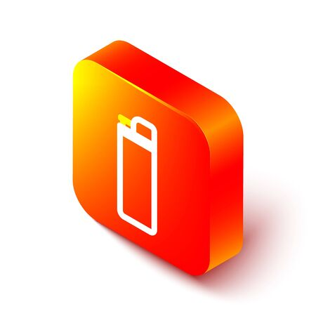 Isometric line Lighter icon isolated on white background. Orange square button. Vector Illustration Illustration