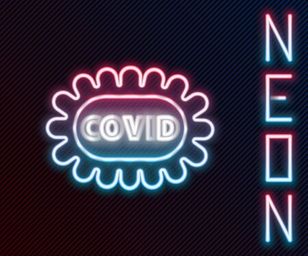 Glowing neon line Corona virus covid-19 icon isolated on black background. Bacteria and germs, cell cancer, microbe, fungi. Colorful outline concept. Vector Illustration.
