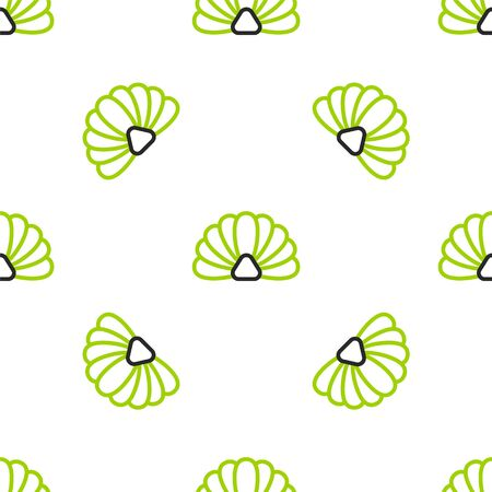 Line Scallop sea shell icon isolated seamless pattern on white background. Seashell sign. Vector Illustration. Illustration