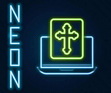 Glowing neon line Cross on the laptop screen icon isolated on black background. Colorful outline concept. Vector Illustration.