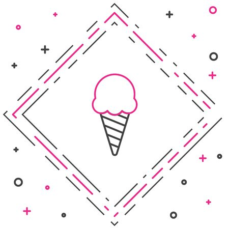 Line Ice cream in waffle cone icon isolated on white background. Sweet symbol. Colorful outline concept. Vector Illustration.