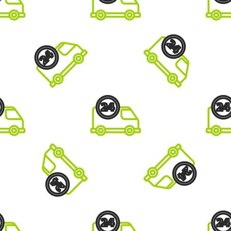 Line Fast round the clock delivery by car icon isolated seamless pattern on white background. Vector Illustration Illustration