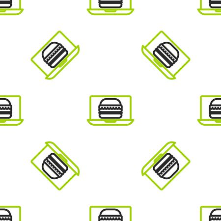 Line Online ordering and burger delivery icon isolated seamless pattern on white background. Vector Illustration