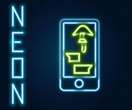 Glowing neon line Buying drugs online on mobile phone icon isolated on black background. Online buying symbol. Colorful outline concept. Vector. Illustration Illustration
