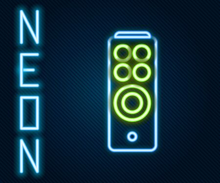 Glowing neon line Remote control icon isolated on black background. Colorful outline concept. Vector. Illustration