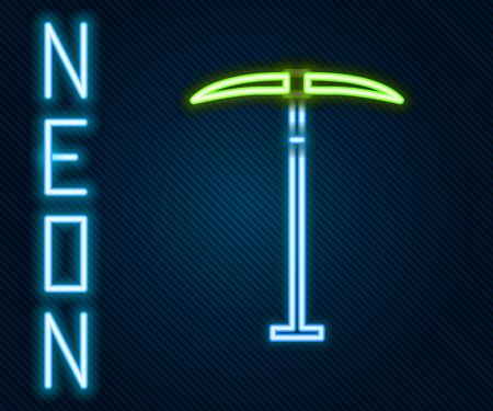 Glowing neon line Pickaxe icon isolated on black background. Colorful outline concept. Vector. Illustration Çizim