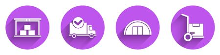Set Warehouse, Delivery truck with check mark, Warehouse and Hand truck and boxes icon with long shadow. Vector Vectores