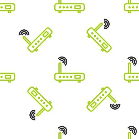 Line Router and wifi signal icon isolated seamless pattern on white background. Wireless  modem router. Computer technology internet. Vector. Illustration  イラスト・ベクター素材
