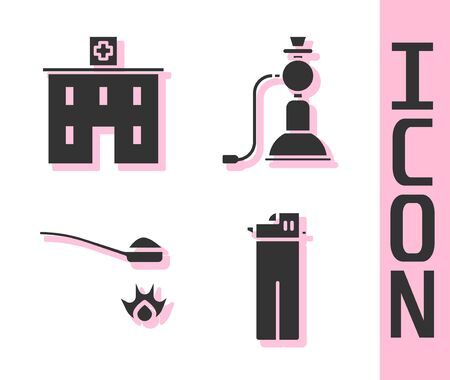 Set Lighter, Medical hospital building, Heroin in a spoon and Hookah icon. Vector.