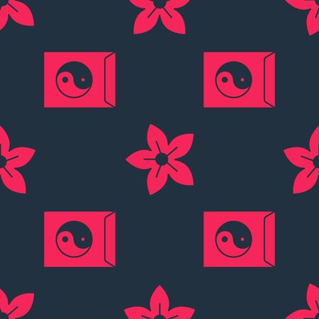 Set Yin Yang and envelope and Lotus flower on seamless pattern. Vector.