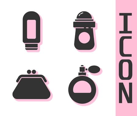 Set Perfume, Cream or lotion cosmetic tube, Clutch bag and Antiperspirant deodorant roll icon. Vector.