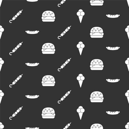 Set Ice cream in waffle cone, Hotdog sandwich, Grilled shish kebab and Burger on seamless pattern. Vector.